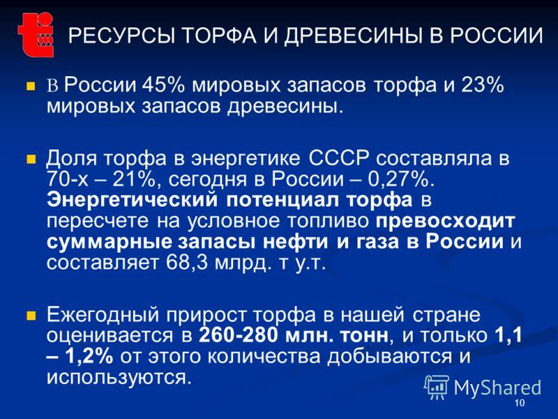 10 РЕСУРСЫ ТОРФА И ДРЕВЕСИНЫ В РОССИИ В России 45% мировых запасов торфа и 23% мировых запасов древесины. Доля торфа в энергетике СССР составляла в 70-х – 21%, сегодня в России – 0,27%. Энергетический потенциал торфа в пересчете на условное топливо п