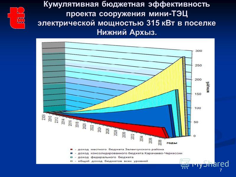 7 Кумулятивная бюджетная эффективность проекта сооружения мини-ТЭЦ электрической мощностью 315 кВт в поселке Нижний Архыз.