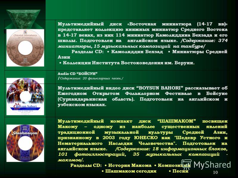 9 Мультимедиа-справочник « Узбекистан » раскрывает историю края, современный потенциал Республики Узбекистан в области экономики, социального развития, науки, туризма. Подготовлен на узбекском, русском и английском языках. /Содержание: 657 информацио