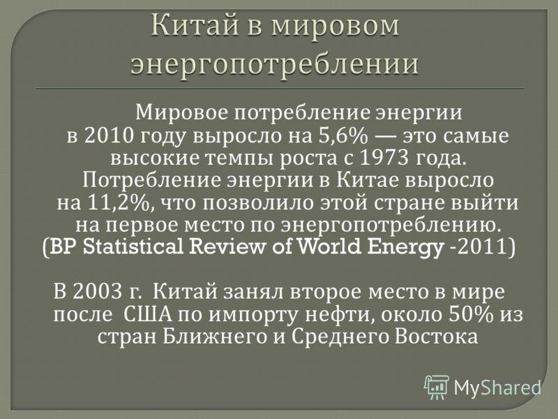 Мировое потребление энергии в 2010 году выросло на 5,6% это самые высокие темпы роста с 1973 года. Потребление энергии в Китае выросло на 11,2%, что позволило этой стране выйти на первое место по энергопотреблению. (BP Statistical Review of World Ene