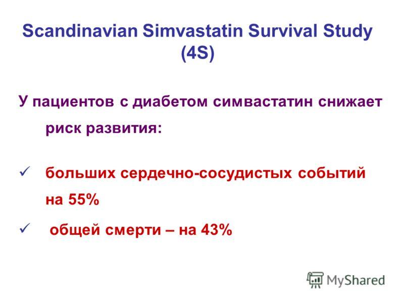 У пациентов с диабетом симвастатин снижает риск развития: больших сердечно-сосудистых событий на 55% общей смерти – на 43% Scandinavian Simvastatin Survival Study (4S)
