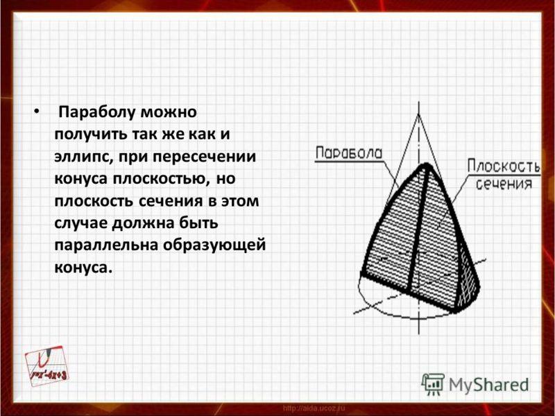 Параболу можно получить так же как и эллипс, при пересечении конуса плоскостью, но плоскость сечения в этом случае должна быть параллельна образующей конуса.