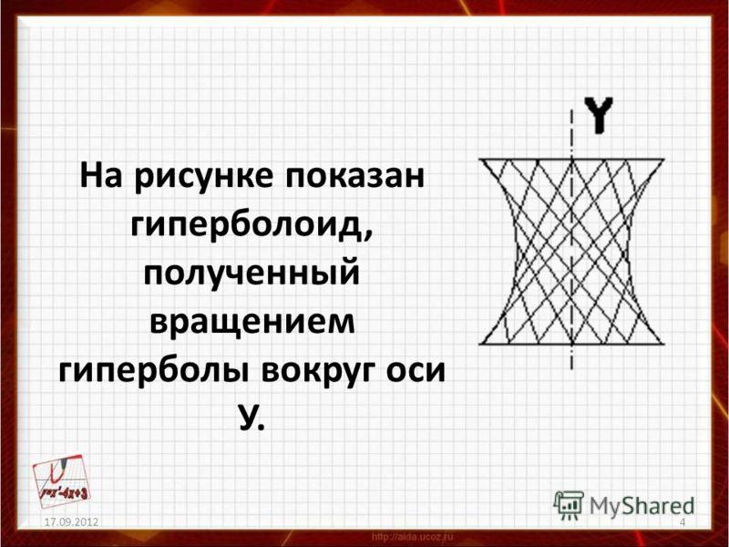 17.09.20124 На рисунке показан гиперболоид, полученный вращением гиперболы вокруг оси У.