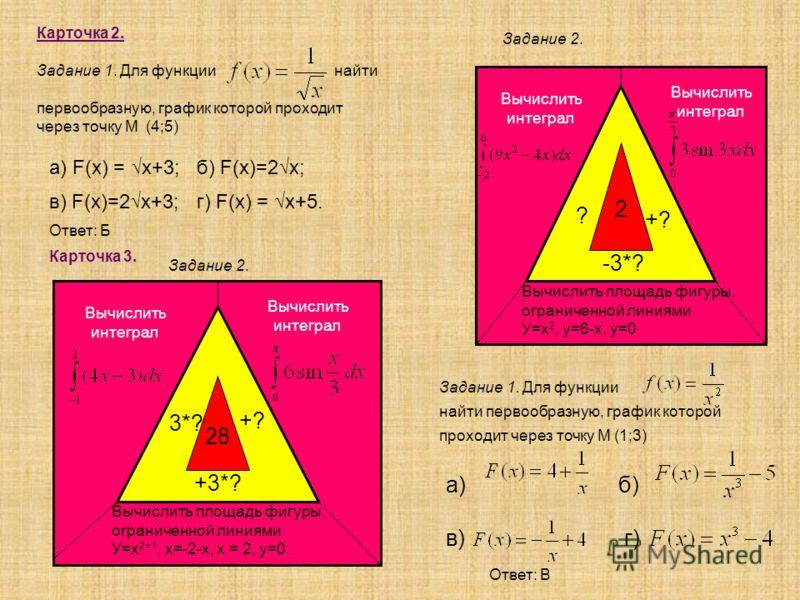 Карточка 2. Задание 1. Для функции найти первообразную, график которой проходит через точку М (4;5) а) б) в) г) а) F(x) = x+3; б) F(x)=2x; в) F(x)=2x+3; г) F(x) = x+5. Ответ: Б Задание 2. Вычислить интеграл Вычислить интеграл Вычислить площадь фигуры
