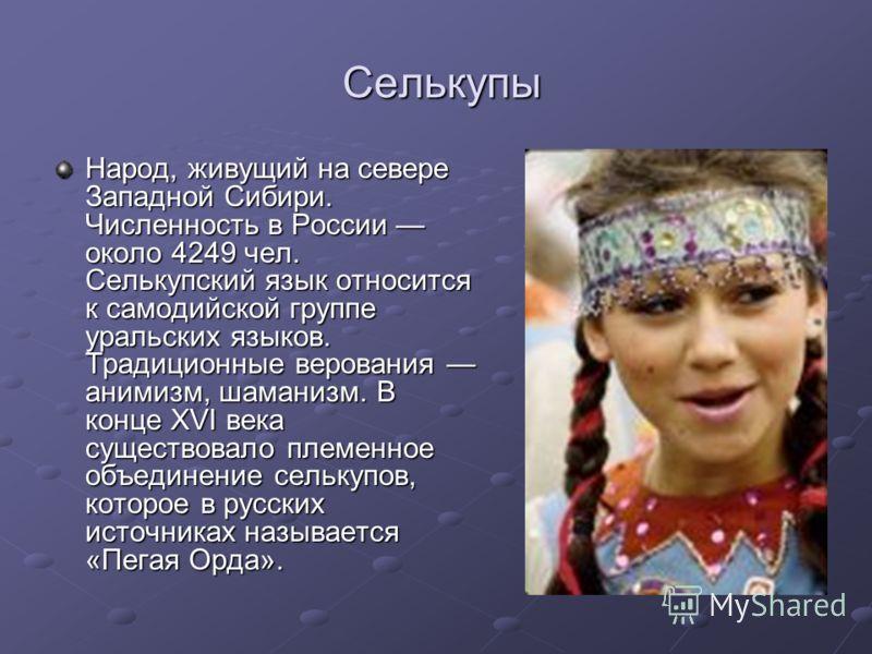 Селькупы Селькупы Народ, живущий на севере Западной Сибири. Численность в России около 4249 чел. Селькупский язык относится к самодийской группе уральских языков. Традиционные верования анимизм, шаманизм. В конце XVI века существовало племенное объед