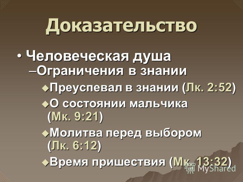 –Ограничения в знании Преуспевал в знании (Лк. 2:52) Преуспевал в знании (Лк. 2:52) О состоянии мальчика (Мк. 9:21) О состоянии мальчика (Мк. 9:21) Молитва перед выбором (Лк. 6:12) Молитва перед выбором (Лк. 6:12) Время пришествия (Мк. 13:32) Время п