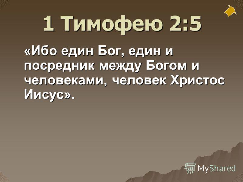 «Ибо един Бог, един и посредник между Богом и человеками, человек Христос Иисус». 1 Тимофею 2:5