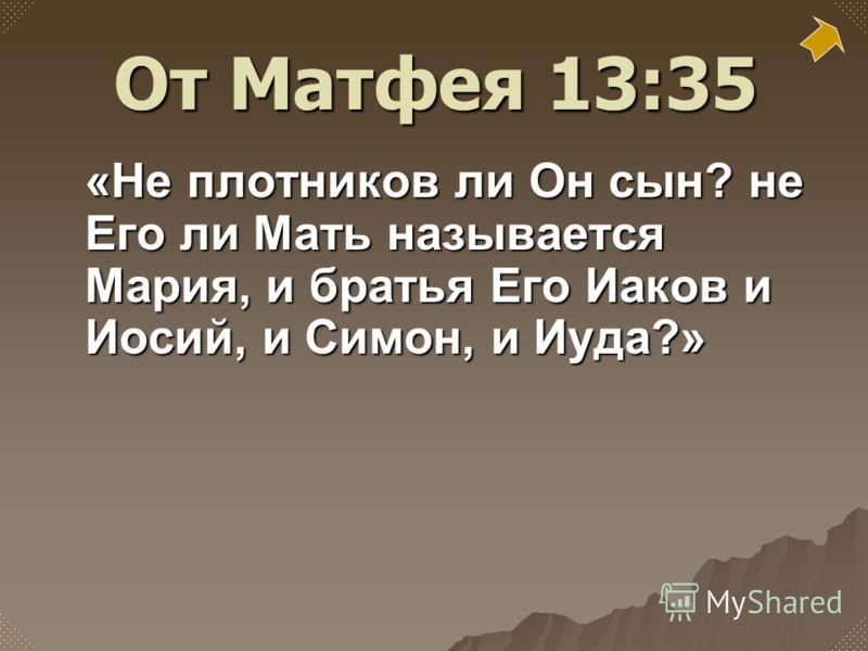 «Не плотников ли Он сын? не Его ли Мать называется Мария, и братья Его Иаков и Иосий, и Симон, и Иуда?» От Матфея 13:35