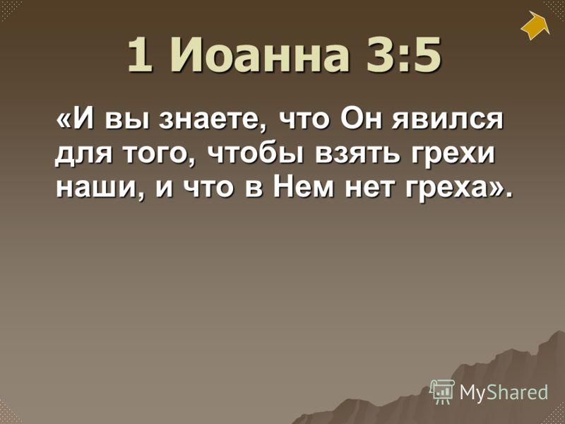 «И вы знаете, что Он явился для того, чтобы взять грехи наши, и что в Нем нет греха». 1 Иоанна 3:5