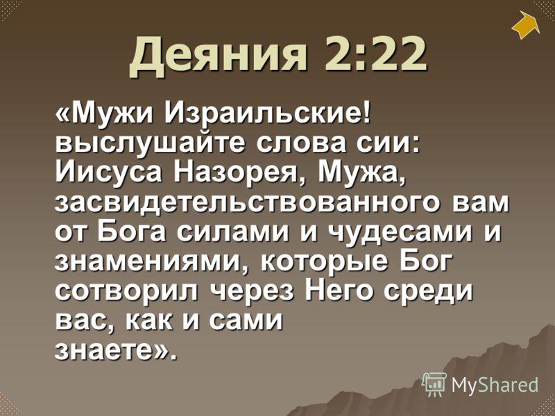 «Мужи Израильские! выслушайте слова сии: Иисуса Назорея, Мужа, засвидетельствованного вам от Бога силами и чудесами и знамениями, которые Бог сотворил через Него среди вас, как и сами знаете». Деяния 2:22