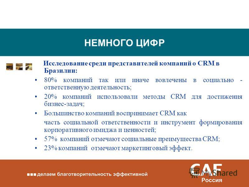 НЕМНОГО ЦИФР Исследование среди представителей компаний о CRM в Бразилии: 80% компаний так или иначе вовлечены в социально - ответственную деятельность; 20% компаний использовали методы CRM для достижения бизнес-задач; Большинство компаний воспринима