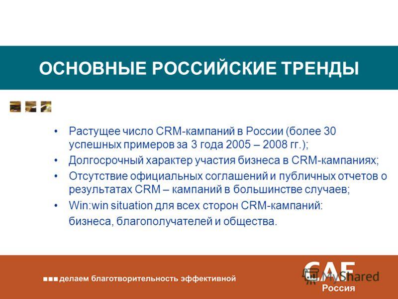 ОСНОВНЫЕ РОССИЙСКИЕ ТРЕНДЫ Растущее число CRM-кампаний в России (более 30 успешных примеров за 3 года 2005 – 2008 гг.); Долгосрочный характер участия бизнеса в CRM-кампаниях; Отсутствие официальных соглашений и публичных отчетов о результатах CRM – к