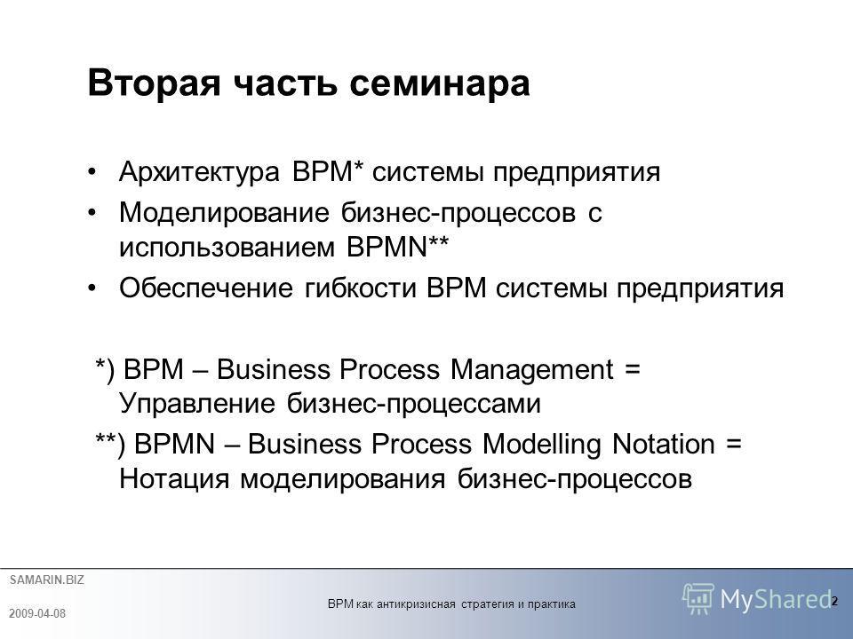 SAMARIN.BIZ Архитектура BPM* системы предприятия Моделирование бизнес-процессов с использованием BPMN** Обеспечение гибкости BPM системы предприятия *) BPM – Business Process Management = Управление бизнес-процессами **) BPMN – Business Process Model