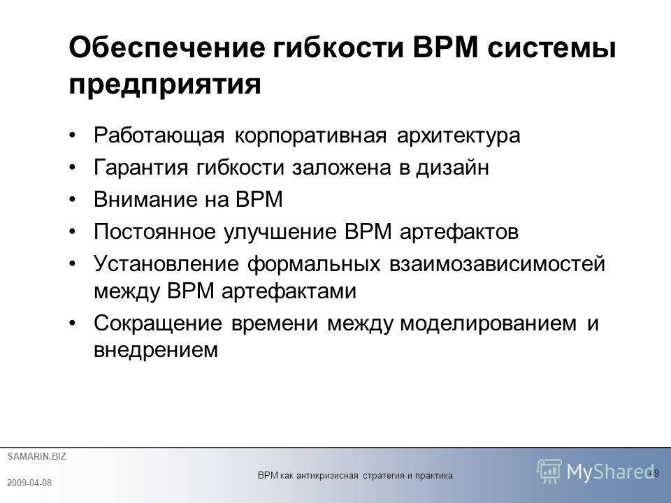 SAMARIN.BIZ Работающая корпоративная архитектура Гарантия гибкости заложена в дизайн Внимание на BPM Постоянное улучшение BPM артефактов Установление формальных взаимозависимостей между BPM артефактами Сокращение времени между моделированием и внедре