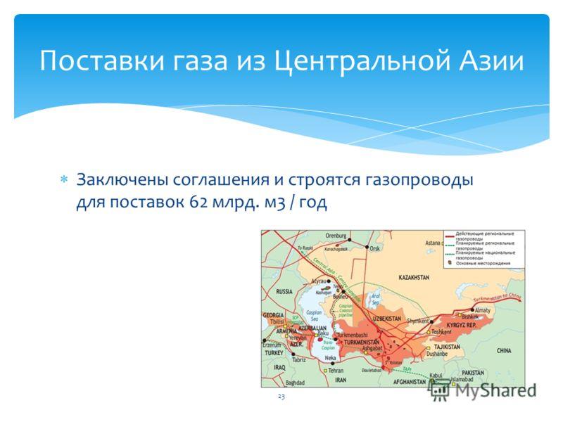 Заключены соглашения и строятся газопроводы для поставок 62 млрд. м3 / год Поставки газа из Центральной Азии 23