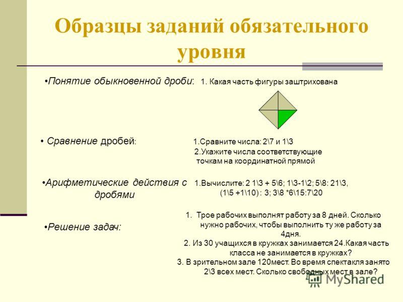 Образцы заданий обязательного уровня Понятие обыкновенной дроби: 1. Какая часть фигуры заштрихована Сравнение дробей : 1.Сравните числа: 2\7 и 1\3 2.Укажите числа соответствующие точкам на координатной прямой Арифметические действия с дробями 1.Вычис