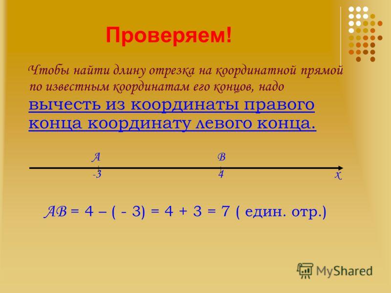Проверяем! Чтобы найти длину отрезка на координатной прямой по известным координатам его концов, надо вычесть из координаты правого конца координату левого конца. А В - 3 4 х АВ = 4 – ( - 3) = 4 + 3 = 7 ( един. отр.) | | 11
