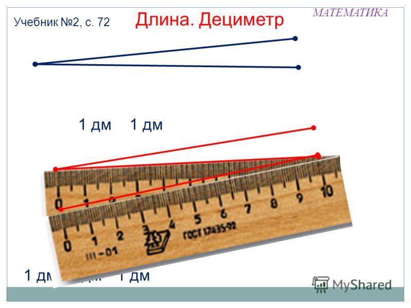 МАТЕМАТИКА 1 дм Длина. Дециметр Учебник 2, с. 72 1 дм