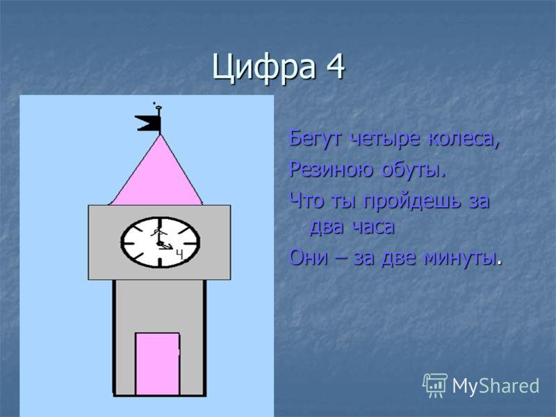 Цифра 4 Бегут четыре колеса, Резиною обуты. Что ты пройдешь за два часа Они – за две минуты.