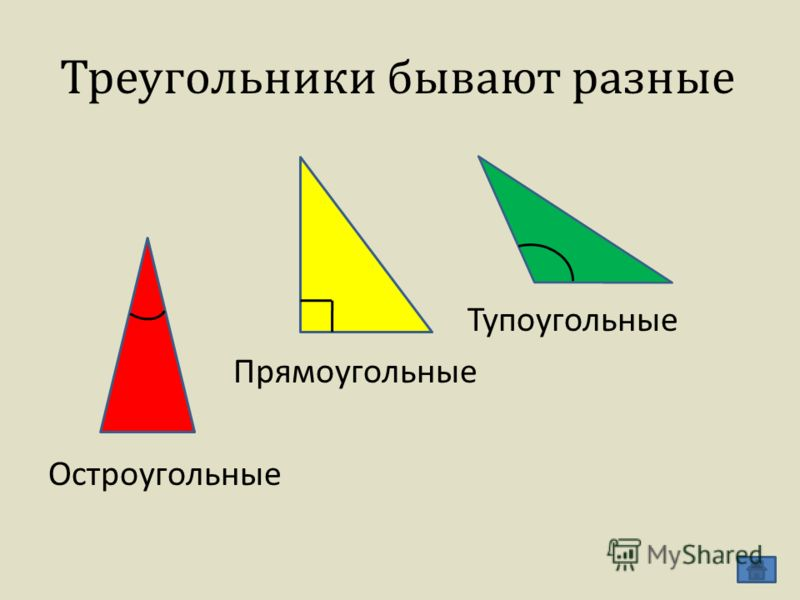 Треугольники бывают разные Тупоугольные Прямоугольные Остроугольные