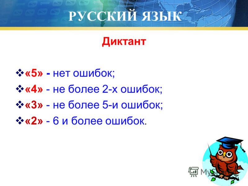 РУССКИЙ ЯЗЫК Диктант «5» - нет ошибок; «4» - не более 2-х ошибок; «3» - не более 5-и ошибок; «2» - 6 и более ошибок.
