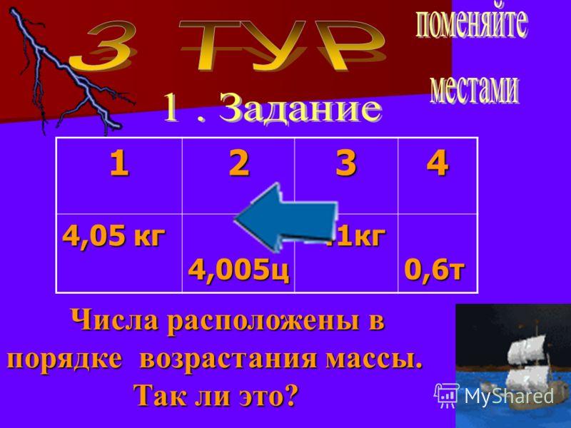 1234 4,05 кг 4,005ц 4,005ц 41кг 41кг 0,6т 0,6т Числа расположены в порядке возрастания массы. Числа расположены в порядке возрастания массы. Так ли это? Так ли это?