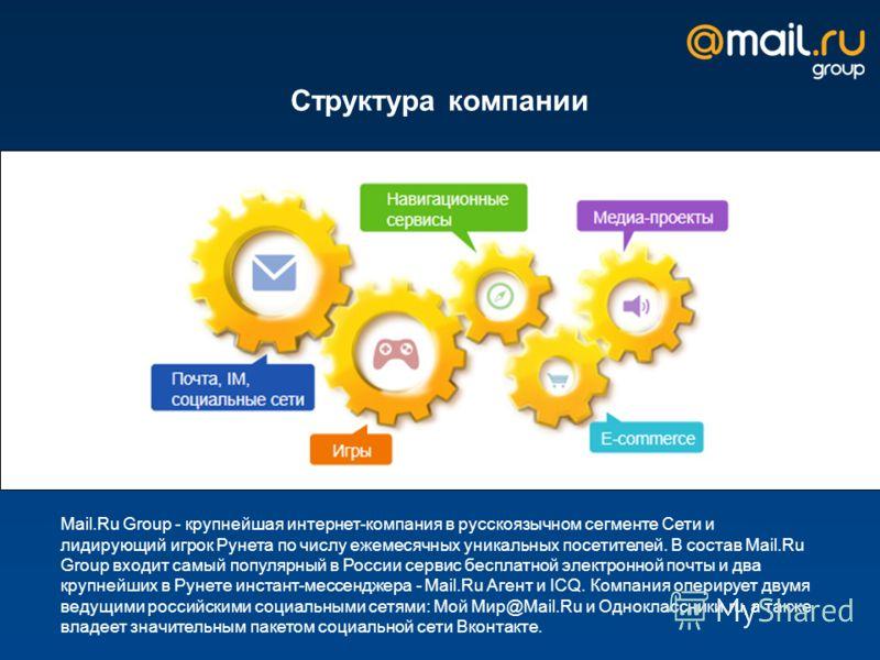 Структура компании Mail.Ru Group - крупнейшая интернет-компания в русскоязычном сегменте Сети и лидирующий игрок Рунета по числу ежемесячных уникальных посетителей. В состав Mail.Ru Group входит самый популярный в России сервис бесплатной электронной