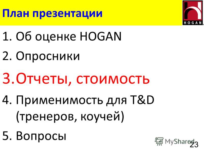 План презентации 1.Об оценке HOGAN 2.Опросники 3.Отчеты, стоимость 4.Применимость для T&D (тренеров, коучей) 5.Вопросы 23