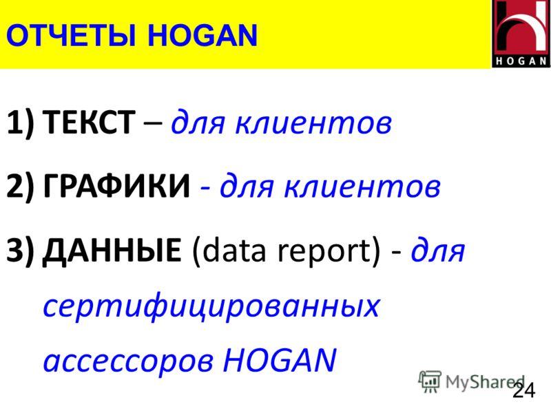 ОТЧЕТЫ HOGAN 1)ТЕКСТ – для клиентов 2)ГРАФИКИ - для клиентов 3)ДАННЫЕ (data report) - для сертифицированных ассессоров HOGAN 24