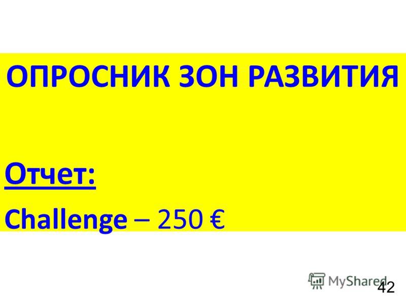 ОПРОСНИК ЗОН РАЗВИТИЯ Отчет: Challenge – 250 42