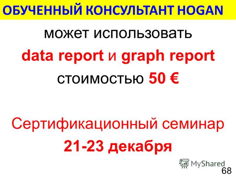 может использовать data report и graph report стоимостью 50 Сертификационный семинар 21-23 декабря ОБУЧЕННЫЙ КОНСУЛЬТАНТ HOGAN 68