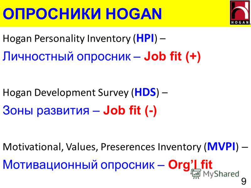 ОПРОСНИКИ HOGAN 9 Hogan Personality Inventory ( HPI ) – Личностный опросник – Job fit (+) Hogan Development Survey ( HDS ) – Зоны развития – Job fit (-) Motivational, Values, Preserences Inventory ( MVPI ) – Мотивационный опросник – Orgl fit
