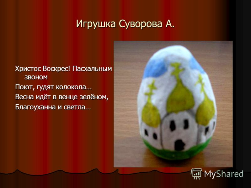 Игрушка Суворова А. Христос Воскрес! Пасхальным звоном Поют, гудят колокола… Весна идёт в венце зелёном, Благоуханна и светла…