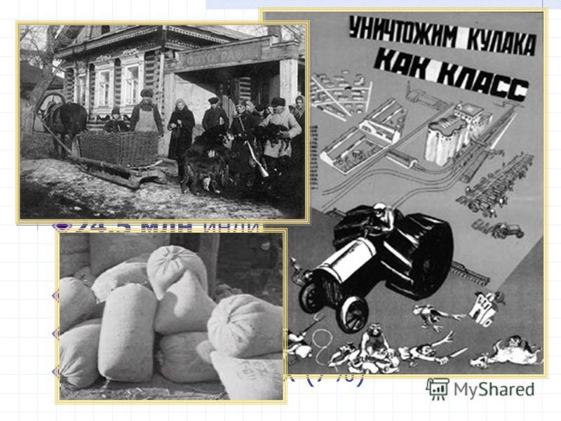 Статистические данные: По официальным оценкам в СССР к лету 1929 г. Насчитывалось: 24,5 млн индивидуальных крестьянских хозяйств, в том числе 8 млн бедняцких (32%) 15 млн средняцких (61%) 1,5 млн кулацких (7%)