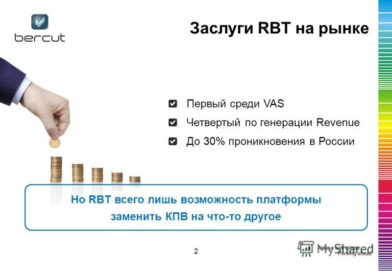 Заслуги RBT на рынке Первый среди VAS Четвертый по генерации Revenue До 30% проникновения в России 2 Но RBT всего лишь возможность платформы заменить КПВ на что-то другое