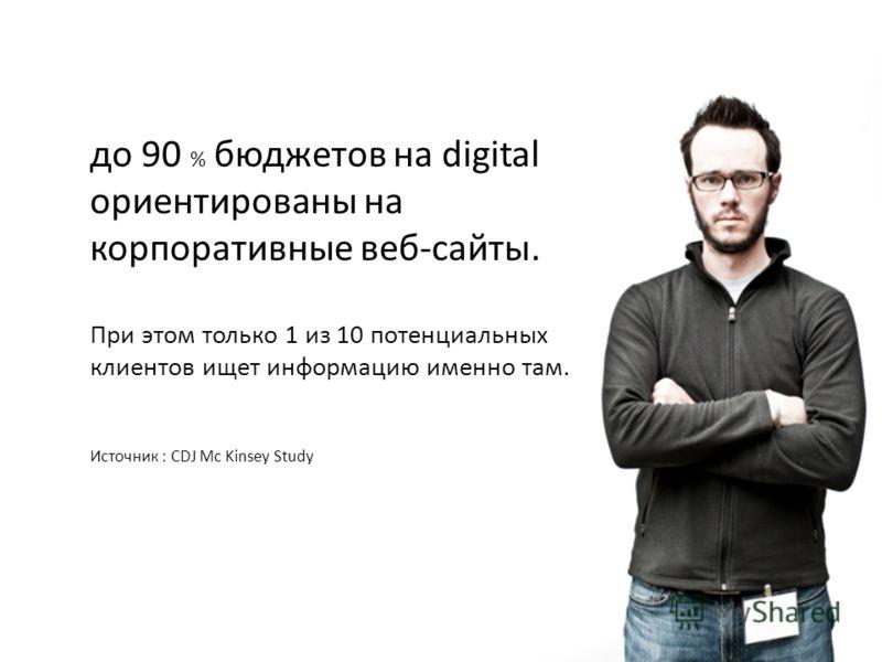 до 90 % бюджетов на digital ориентированы на корпоративные веб-сайты. При этом только 1 из 10 потенциальных клиентов ищет информацию именно там. Источник : CDJ Mc Kinsey Study