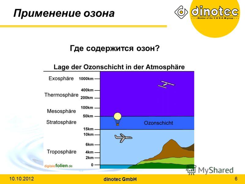 dinotec GmbH 10.10.2012 6 Применение озона Где содержится озон?