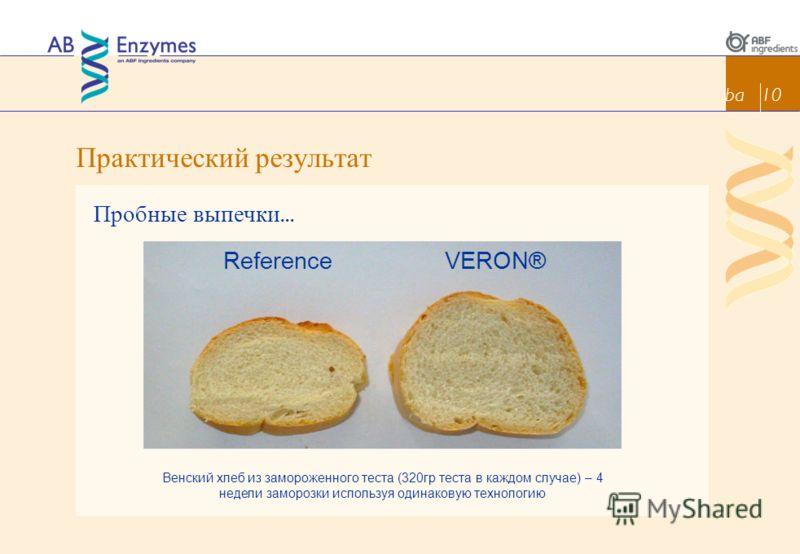 Практический результат ba 10 Пробные выпечки... Венский хлеб из замороженного теста (320гр теста в каждом случае) – 4 недели заморозки используя одинаковую технологию VERON®Reference