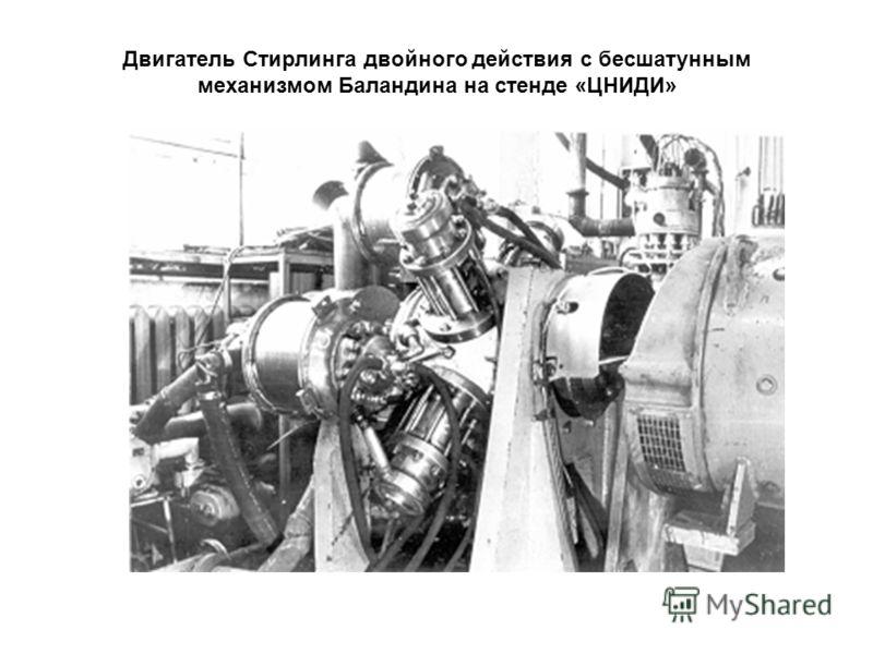Двигатель Стирлинга двойного действия с бесшатунным механизмом Баландина на стенде «ЦНИДИ»