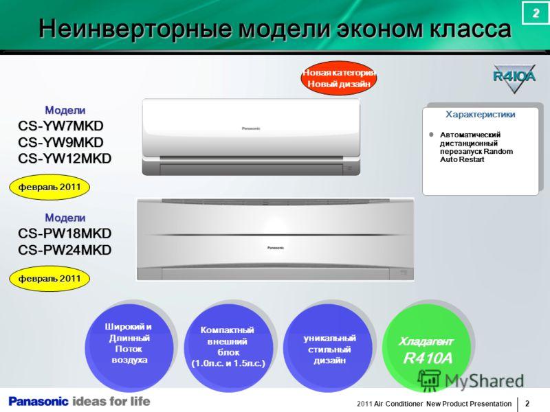 2011 Air Conditioner New Product Presentation 2 2 Модели МоделиCS-YW7MKDCS-YW9MKDCS-YW12MKD Широкий и Длинный Поток воздуха Компактный внешний блок (1.0л.с. и 1.5л.с.) уникальный стильный дизайн Автоматический дистанционный перезапуск Random Auto Res