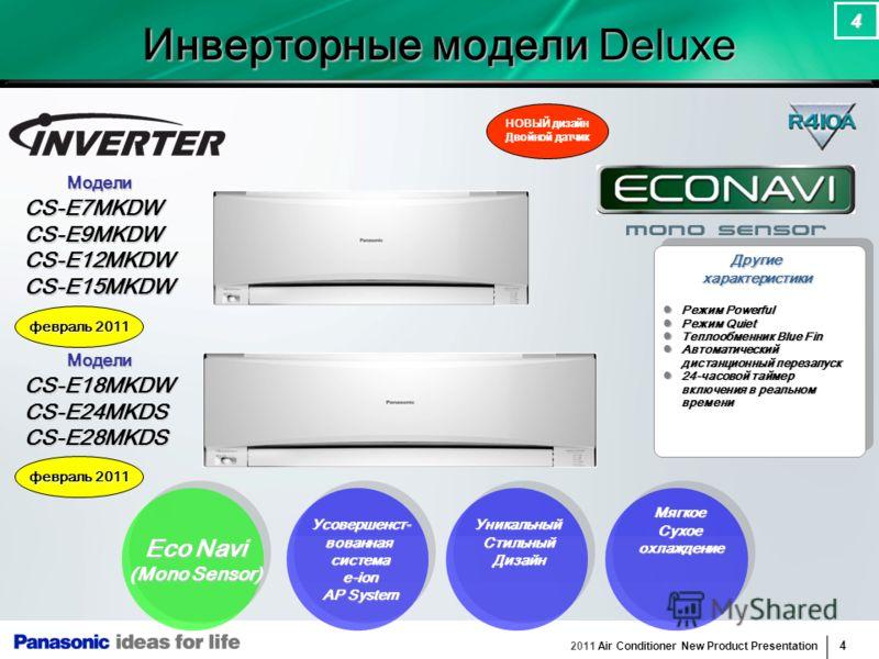 2011 Air Conditioner New Product Presentation 4 4 Другиехарактеристики Усовершенст-вованнаясистемаe-ion AP System Eco Navi (Mono Sensor) УникальныйСтильныйДизайн Модели МоделиCS-E7MKDWCS-E9MKDWCS-E12MKDWCS-E15MKDW НОВЫЙ дизайн Двойной датчик МягкоеСу