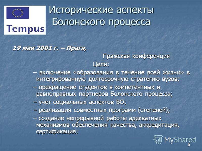 55 19 мая 2001 г. – Прага, Пражская конференция Пражская конференцияЦели: – включение «образования в течение всей жизни» в интегрированную долгосрочную стратегию вузов; – включение «образования в течение всей жизни» в интегрированную долгосрочную стр