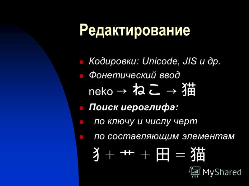 Редактирование Кодировки: Unicode, JIS и др. Фонетический ввод neko Поиск иероглифа: по ключу и числу черт по составляющим элементам + + =