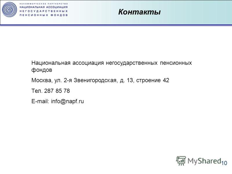 10 Контакты Национальная ассоциация негосударственных пенсионных фондов Москва, ул. 2-я Звенигородская, д. 13, строение 42 Тел. 287 85 78 E-mail: info@napf.ru