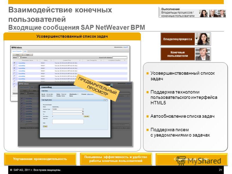 ©SAP AG, 2011 г. Все права защищены.21 Взаимодействие конечных пользователей Входящие сообщения SAP NetWeaver BPM Усовершенствованный список задач Поддержка технологии пользовательского интерфейса HTML5 Автообновление списка задач Поддержка писем с у