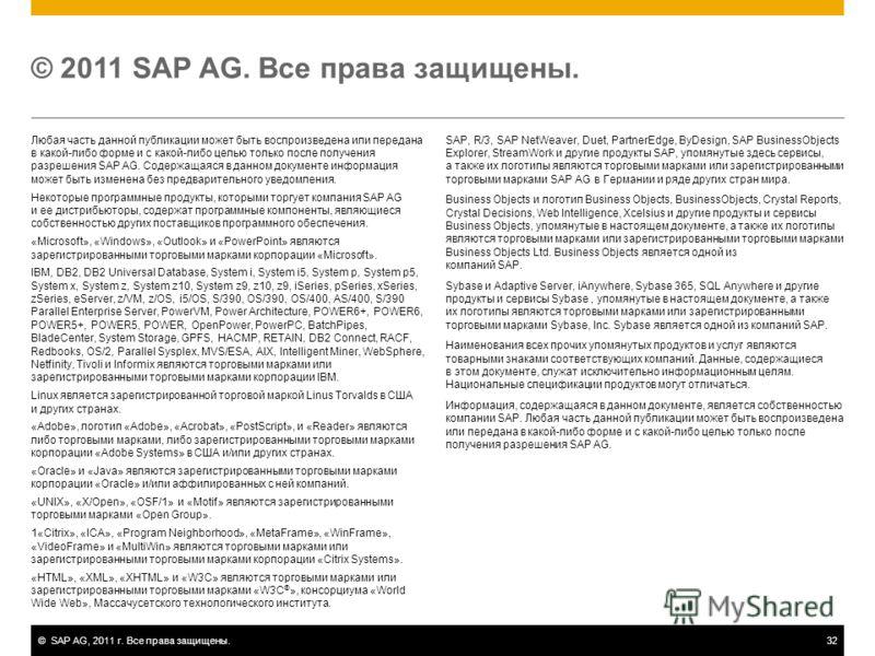 ©SAP AG, 2011 г. Все права защищены.32 Любая часть данной публикации может быть воспроизведена или передана в какой-либо форме и с какой-либо целью только после получения разрешения SAP AG. Содержащаяся в данном документе информация может быть измене