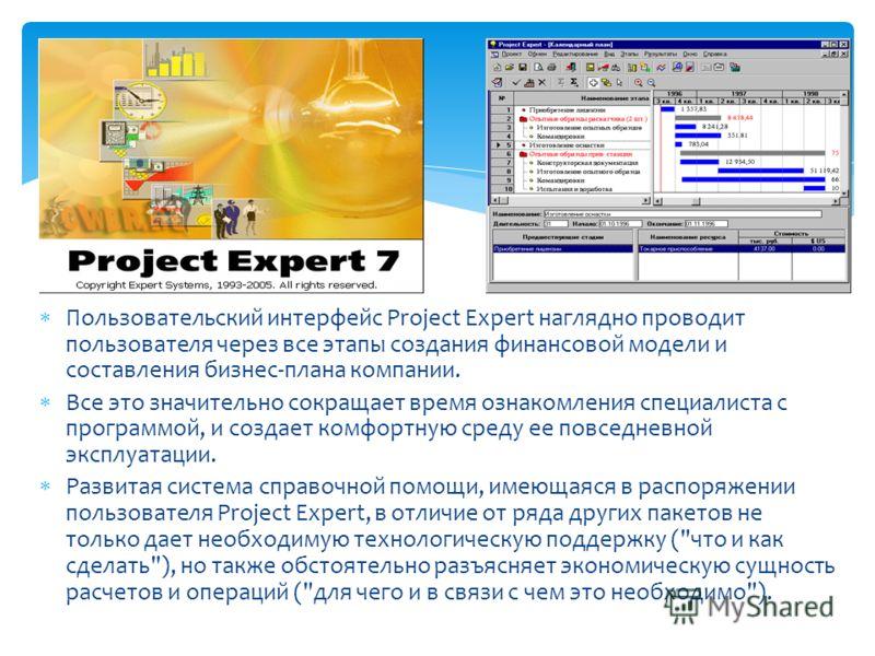 Пользовательский интерфейс Project Expert наглядно проводит пользователя через все этапы создания финансовой модели и составления бизнес-плана компании. Все это значительно сокращает время ознакомления специалиста с программой, и создает комфортную с