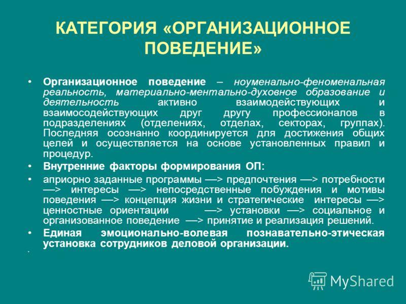 КАТЕГОРИЯ «ОРГАНИЗАЦИОННОЕ
