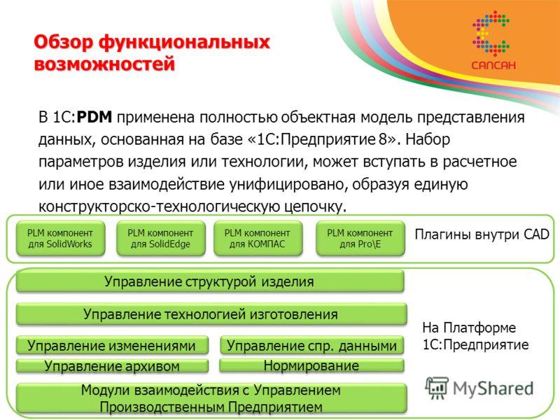 В 1C:PDM применена полностью объектная модель представления данных, основанная на базе «1С:Предприятие 8». Набор параметров изделия или технологии, может вступать в расчетное или иное взаимодействие унифицировано, образуя единую конструкторско-технол
