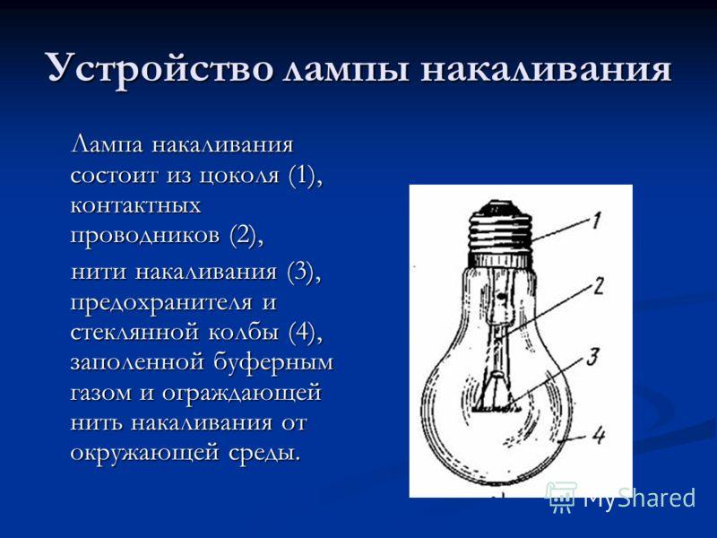 Устройство лампы накаливания Лампа накаливания состоит из цоколя (1), контактных проводников (2), Лампа накаливания состоит из цоколя (1), контактных проводников (2), нити накаливания (3), предохранителя и стеклянной колбы (4), заполенной буферным га